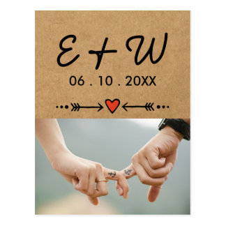 Carte Postale Amoureux roses et initiales de fiançailles de