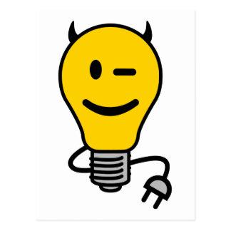 Carte Postale Ampoule de diable avec la queue de prise
