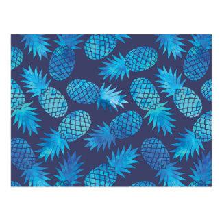 Carte Postale Ananas bleus de colorant de cravate