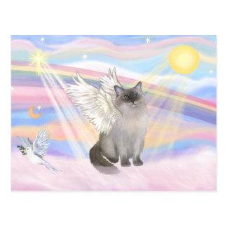 Carte Postale Ange de chat de Ragdoll (point bleu) - nuages