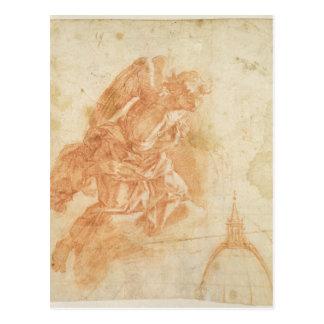 Carte Postale Ange suspendu et croquis architectural, c.1600