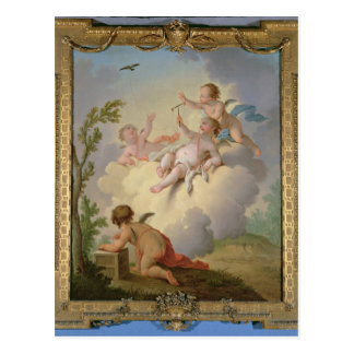 Carte Postale Anges jouant avec un oiseau dans un paysage