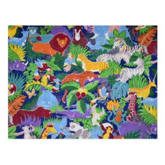 Carte Postale Animaux colorés de jungle