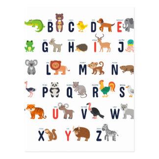 Carte Postale Animaux d'alphabet - mignon superbe !