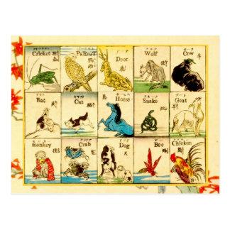 Carte Postale Animaux marqués en japonais et anglais
