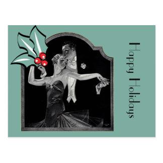 Carte Postale Années '30 dansant Deco bonnes fêtes