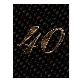 Carte Postale Anniversaire d'anniversaire d'or noir du numéro 40