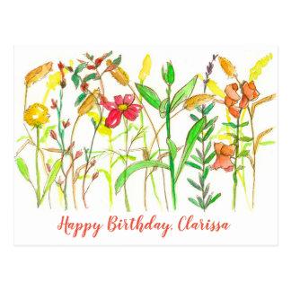 Carte Postale Anniversaire de fleurs botaniques d'automne joyeux