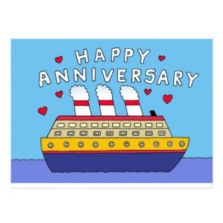 Carte Postale Anniversaire de mariage de bateau de croisière