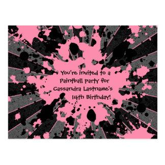 Carte Postale Anniversaire rose génial de paintball