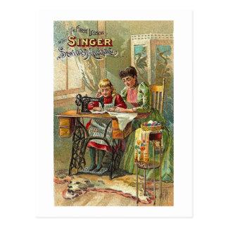 """Carte Postale Annonce de machine à coudre de chanteur """"la"""