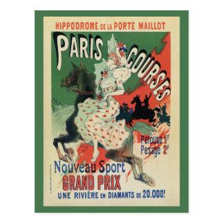 Carte Postale Annonce vintage de courses de cheval de Paris