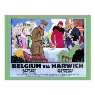 Carte Postale Annonce vintage de voyage de la Belgique d'art