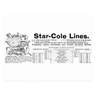 Carte Postale Antiquité Detroit Cleveland de paquebot de Cole