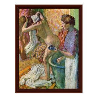 Carte Postale Après Bath par Edgar Degas