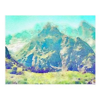 Carte Postale Aquarelle de paysage de montagne