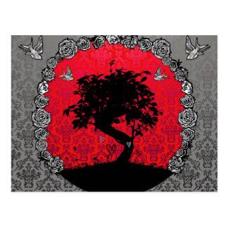 Carte Postale Arbre de bonsaïs de tatouage de l'amour