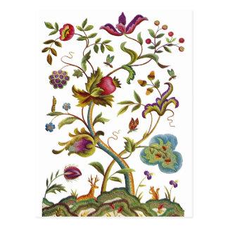 Carte Postale Arbre de broderie de laine à tapisserie de la vie