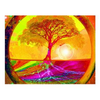 Carte Postale Arbre de lever de soleil de la vie