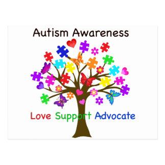 Carte Postale Arbre de sensibilisation sur l'autisme