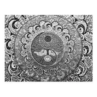 Carte Postale Arbre de Yin Yang de la vie en argent et chrome