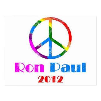 Carte Postale Arc-en-ciel de signe de paix de Ron Paul
