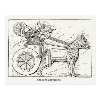 Carte Postale Archers assyriens, dessin vintage 1890