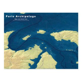 Carte Postale Archipel de Paris--Carte noyée de villes