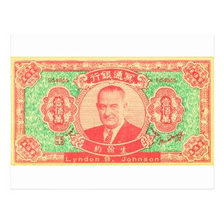Carte Postale Argent vintage Lyndon Johnson Vietnam de Joss de