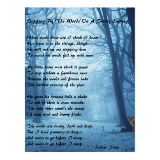 Carte Postale Arrêt par les bois par : Robert Frost