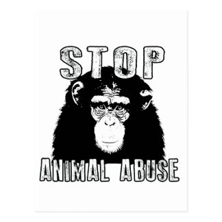 Carte Postale Arrêtez l'abus animal - chimpanzé