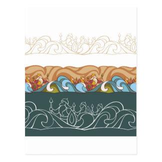 Carte Postale arrière - plan avec des caractères de conte de