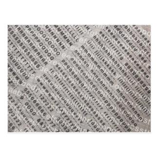 Carte Postale arrière - plan d'alphabet