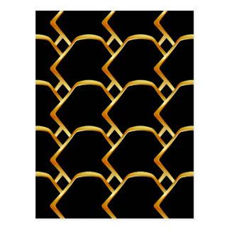 Carte Postale Arrière - plan d'or de cellules de miel