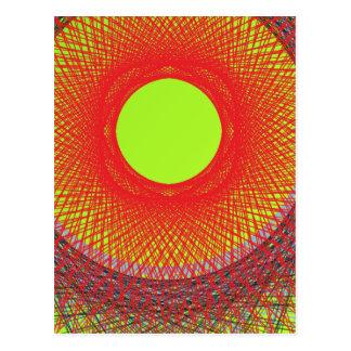 Carte Postale art abstrait du soleil vert