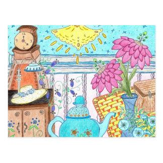 Carte Postale Art bleu de crayon de théière par Nana B.