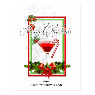 Carte Postale Art d'aquarelle de cocktail de Noël