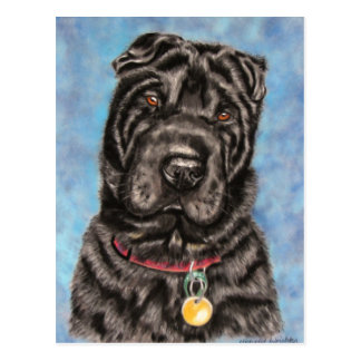 Carte Postale Art de chien de Shar-Pei de Chinois - Tia