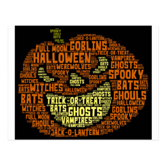 Carte Postale Art de Nuage-Mot de mot de citrouille de Halloween