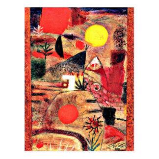 Carte Postale Art de Paul Klee : Cérémonie et coucher du soleil