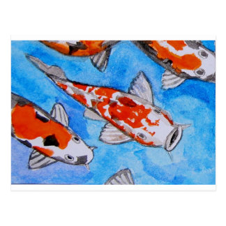 Carte Postale Art de peinture de nature d'aquarelle de Koi