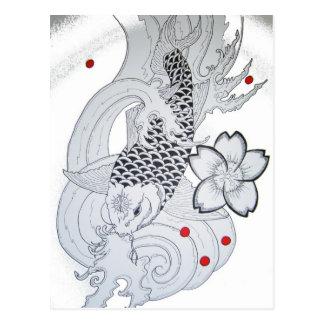 Carte Postale Art de tatouage de Koi
