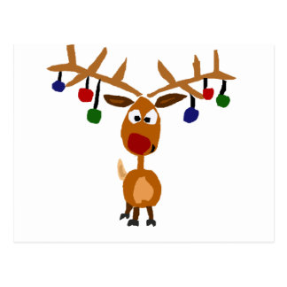 Carte Postale Art flairé rouge drôle de Noël de renne