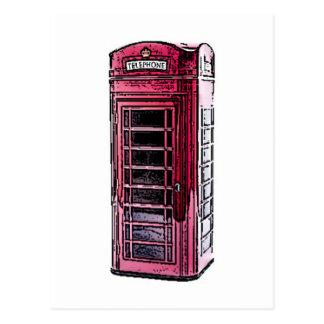 Carte Postale Art rouge de dessin de cabine téléphonique de