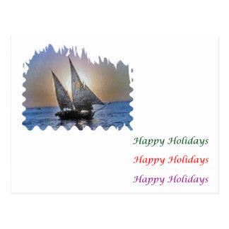 Carte Postale Art sautant d'oeil - bateau à voile HappyHoliday