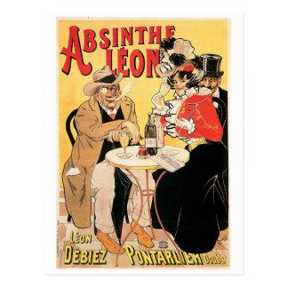 Carte Postale Art vintage d'annonce de boissons de vin de Léon