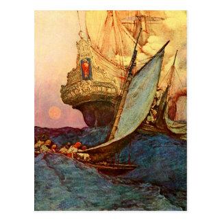 Carte Postale Attaque sur le galion d'un pirate