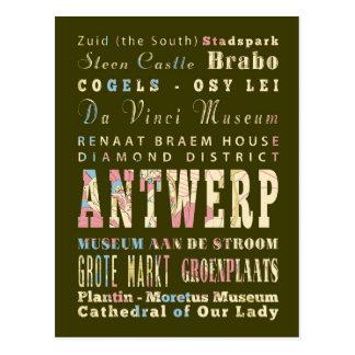 Carte Postale Attractions et endroits célèbres d'Anvers,