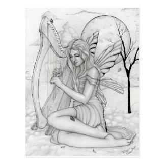 Carte Postale Au delà du temps - fée avec l'harpe