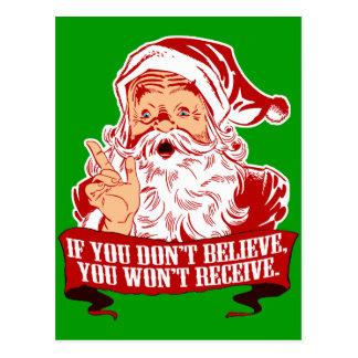 Carte Postale Aucune croyance d'aucun Père Noël drôle de